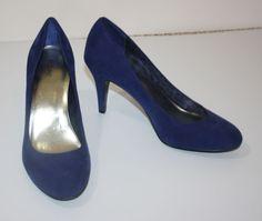 Cobalt Blue Suede Heels Shoes Style & Co Womens Size 7.5M Pumps #StyleCo #PumpsClassics #WeartoWork