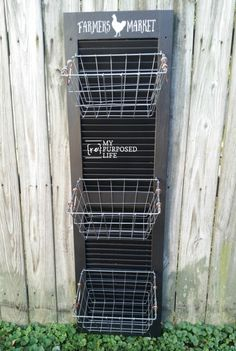 How to repurpose an old shutter into a hanging produce bin by adding some hooks and wire baskets. Lean against the wall or hang it to keep produce handy. Plastic Shutters, Vinyl Shutters, Old Shutters, Wooden Shutters, Window Shutters, Repurposed Shutters, Window Frames, Painting Shutters, Wire Basket Shelves