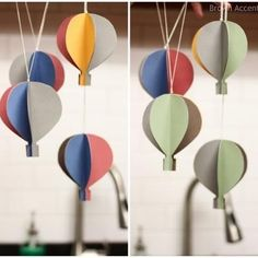 "Hot air balloon paper mobile. For world/travel themed room, and/or Seuss' ""Oh, the Paces You'll Go!"""