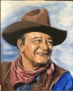John Wayne. Acrylic on board.