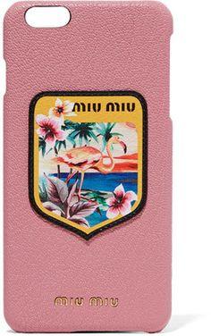 Shop Now - >  https://api.shopstyle.com/action/apiVisitRetailer?id=621359331&pid=uid6996-25233114-59 Miu Miu - Appliquéd Printed Textured-leather Iphone 6 Plus Case - Antique rose  ...