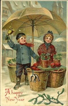 A Happy New Year, Vintage Card Style!