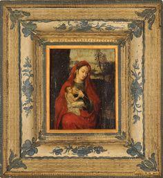 """Lot : Flemish school - 17th century - """"Madonna of humility"""", oil on canvas, framed - 25x20[...]   Dans la vente Mobilier, Peintures, Joaillerie, Argenterie - 2ème Partie à Colasanti Casa d'Aste"""