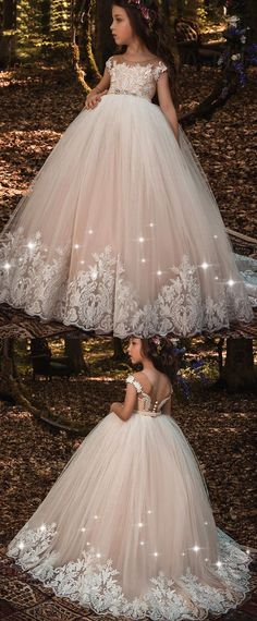 NEW! Modest Tulle Scoop Neckline Ball Gown Flower Girl Dresses With Lace Appliques & Beadings