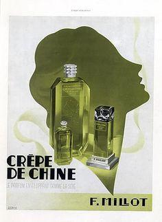 Millot (Perfumes) 1937 Crêpe de Chine Jacques Branger Vintage advert Perfumes illustrated by Jacques Branger | Hprints.com