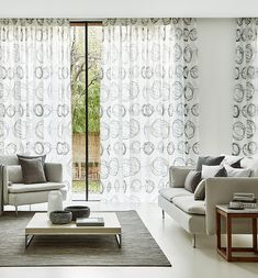 Swirl Dusk-voile-curtains - Need the privacy and shading offered by traditional net curtains – but want a more fashionable alternative? Check out 4 stylish options here. Modern Net Curtains, Voile Curtains, Curtain Texture, Stripes Design, Soft Furnishings, Interior Design Living Room, Room Interior, Blinds, Contemporary