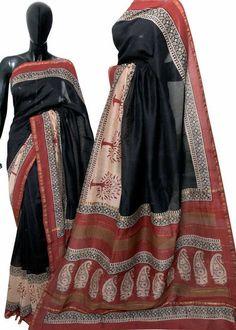 Handblock printed jarri border silk cotton sarees with blouse piece. Chanderi Silk Saree, Silk Cotton Sarees, Ikkat Saree, Indigo Saree, Designer Blouse Patterns, Design Patterns, Designer Silk Sarees, Elegant Fashion Wear, Saree Blouse Designs