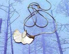 Real Leaf Jewelry Baby Gold Gingko Leaf Necklace, Matching chain. $12.49, via Etsy.