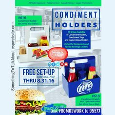 CONDIMENT CADDIES  We offer unique and useful items that are imprinted with corporate logos or promotional messages. Great for bars restaurants clubs etc.  Get Promos Working For You! text PROMOSWORK to 95577  #acrylictumblers #disposablecups #noveldrinkingglasses #shakers #pitchers #themedshotsglasses #glassware #napkinholders #trays #galvanizedbuckets #cuttingboards #corkcoasters #takeapennytrays #promotionalproducts #promoswork #resturant #bar #club #beach #boardwalk #resort