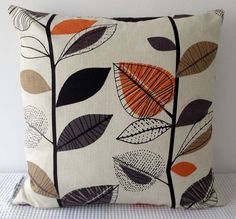 Retro Orange and Brown Cushion covers Throw by miaandstitch