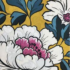 Remnant Kings Floral Digi Print Lawn - Mustard