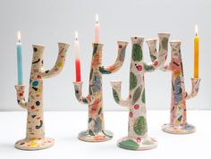 Candles And Candleholders, Candlesticks, Pottery Painting, Ceramic Painting, Ceramic Clay, Ceramic Pottery, Cactus Ceramic, Diy Clay, Clay Crafts