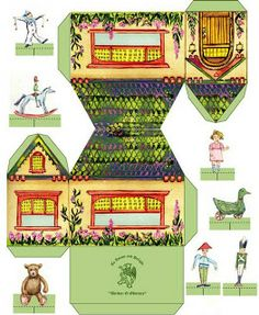 Halloween paper toy house from The Toymaker. Paper Doll House, Paper Houses, House Template, Toy House, Farm House, Glitter Houses, Printable Paper, Free Printable, Paper Models