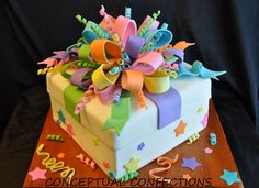 Gift Box - Wanted to practice making bows so I decorated this using left over cakes in the freezer and fondant/ gumpaste I had laying around. Was fun to make :)