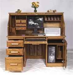 Amish handcrafted computer roll top desk