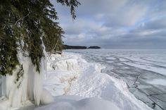 A beautiful morning view of the frozen Lake Superior shoreline near Little Presque Isle. Marquette Michigan, Morning View, Upper Peninsula, Beautiful Morning, Winter Wonder, Lake Superior, Nature Photos, Wonder Land, Beach