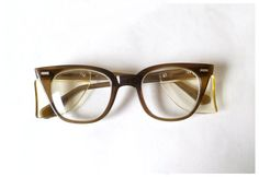 826f90083b3c NIB Industrial Safety Glasses, Wayfarer Style, Side Shields, 1950s Eyewear,  Smoke Brown Tortoise, Retro