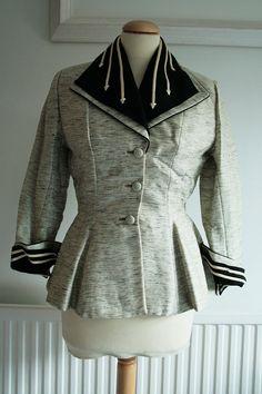 1950s Lilli Ann Silk Suit Jacket in Grey
