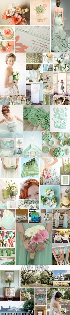 Mint Green & Peach Wedding Theme - Dress up in these delicious Mint Green & Peach colours on your wedding day! Peach Wedding Theme, Wedding Mint Green, Wedding Themes, Our Wedding, Wedding Decorations, Wedding Ideas, Wedding Stuff, Wedding Color Schemes, Wedding Colors