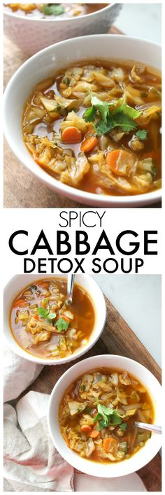 Perfect for those cold winter days, this Spicy Cabbage Detox Soup is packed full of veggies, spices and a delicious vegan beef broth. Detox Recipes, Soup Recipes, Vegetarian Recipes, Cooking Recipes, Healthy Recipes, Potato Recipes, Recipies, Dinner Recipes, Vegan Beef