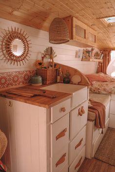 Van Tour — Slow 'n Steady Livin Van Conversion Interior, Camper Van Conversion Diy, Van Kitchen, Kombi Home, Bus House, House Stairs, House Floor, Camper Life, Bus Life