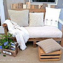 This little sofa is the perfect size for our smaller covered patio. The oversized cushion from a futon sofa was wrapped with a painter's drop cloth making clean up an absolute breeze.  I really like the shaggy pillow-- use old bathroom toilet/rug set?  :o)