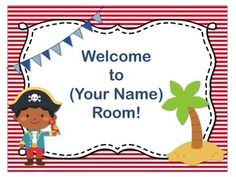 Pirate theme name plate templates colors the ojays and boys pirate theme open house back to school powerpoint template editable text toneelgroepblik Images