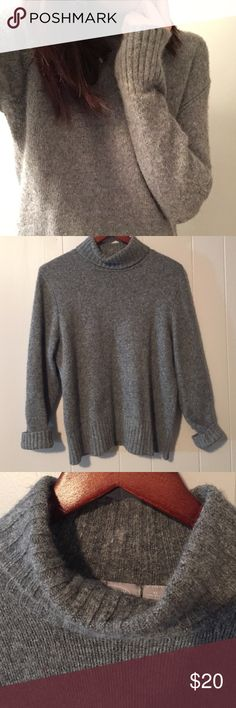 Angora Wool Grey Oversized Turtleneck Sweater Super soft and warm turtleneck sweater. Lambswool and angora hair blend, also with cotton/nylon. Size tag reads XL but I wear as a slouchy size small to get the oversized fit. Old Navy Sweaters Cowl & Turtlenecks