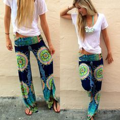 Floral Wide Leg Long Harem women's yoga Pants High Elastic Waist
