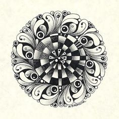 Recently I commented that many of the circular tangles would make lovely centers in Zentangle-inspired mandalas. Mandala Doodle, Tangle Doodle, Tangle Art, Mandala Drawing, Mandala Art, Zentangle Drawings, Doodles Zentangles, Zentangle Patterns, Doodle Drawings