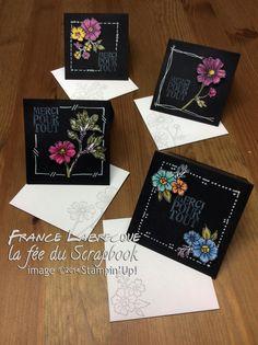 """Kit mini-cartes = jeu d'étampes """"Remerciements / Lots of Thanks"""" + """"Éclosion d'espoir / Bloom with Hope""""  ... www.lafeeduscrapbook.com"""