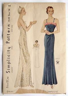 Simplicity 1542 Elegant Evening Gown Sz14 good unused never been completely unfolded unprinted cut dotted sld 89+2.95 11bds 6/24/15