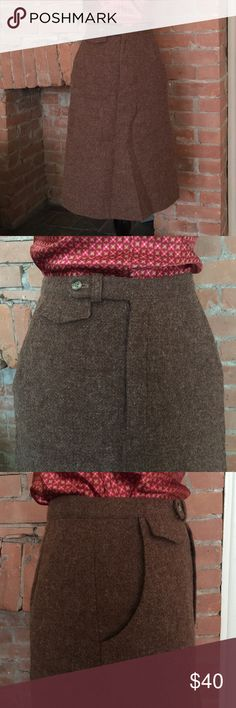 {Vintage} High-waist 100% Wool Skirt This gem was barely ever worn and in EUC.  Purchased in the early 70's this fitted skirt is perfect for work.  It sits at your natural waist and features two side pockets, along with a mini pocket and zipper in the front.  This dress is very clearly made well and will last some lucky lady, many many years.  The tag reads 8, however it fits more like a 4.  FYI, this was my mothers and I have worn many of her vintage skirts over the years; I often hem them…