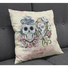 Sugar Skull Throw Pillow Skeletons Always Kiss Me Goodnight Soft Cream... ($22) ❤ liked on Polyvore featuring home, home decor, throw pillows, decorative pillows, grey, home & living, home décor, flowered throw pillows, beige throw pillows and skull home decor
