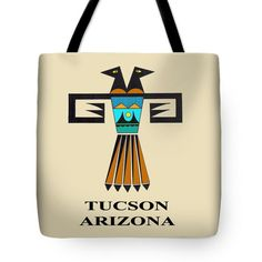 Colorful Tucson Arizona Southwest Native American tribal design - Design represents the Two-Headed bird who looks to the Future, as well, as the Past. Choose same design printed on a sturdy tote bag, or Throw pillow.      Stunning Southwest Tucson Native American Indian Two-Headed Bird design is printed on 100% cotton throw pillow.  Tote bag is printed on sturdy, durable poly-poplin material.   Other similar theme designs available in my shop.  See photos above.       Choose same Southwest…