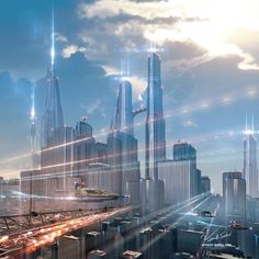 Futuristic City by Vitaly Sokol - Showcase of Mind Blowing Concept Art of Futuristic Cities Cyberpunk City, Futuristic City, Futuristic Architecture, Fantasy City, 3d Fantasy, Fantasy World, City Landscape, Fantasy Landscape, Sci Fi City
