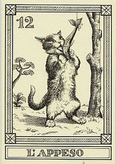 """L'appeso"" -- Gatti, by Osvaldo Menegazzi. The deck of 22 tarot cards was published by Il Meneghello in Italy in 1990."