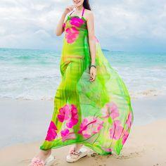 Beach Scarves Hibiscus Print Chiffon Hawaiian Dresses Sexy Women Sarongs Swim Bikini Cover Up Wraps Scarf Hijab