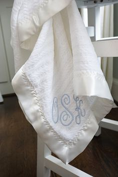 The Noah Forever Blanket for baby from Swell Forever. Made in USA Chenille fabric. Perfectly personalized. Monogram. White on White.