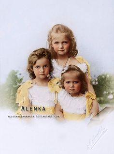 Three eldest children of the last Tsar Nicholas II., Grand Duchesses Olga (1895-1918), Tatiana (1987-1918) and Maria (1899-1918) in 1901