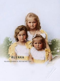 Three eldest children of the last Tsar Nicholas II., Grand Duchesses Olga (1895-1918), Tatiana (1987-1918) and Maria (1899-1918) in 1901