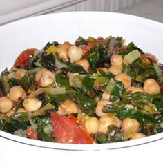 Swiss Chard with Garbanzo Beans and Fresh Tomatoes Allrecipes.com