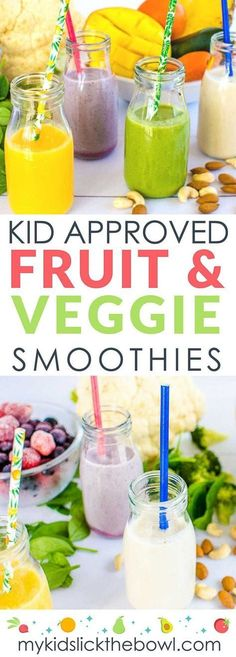 Fruit and veggie smoothies for kids, that have been tried and tested by my kids, healthy and easy, perfect for picky eaters meals for picky eaters 4 Fruit and Veggie Smoothie Combinations My Kids Will Drink Toddler Smoothies, Smoothie Recipes For Kids, Vegetable Smoothies, Healthy Snacks For Kids, Baby Food Recipes, Green Smoothies, Diet Recipes, Healthy Kids Smoothies, Fruit Recipes