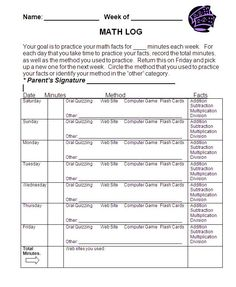Students log their practice of math facts. http://www.teacherspayteachers.com/Product/Math-Fact-Homework-Practice-Log-371371