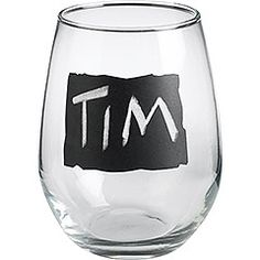 wine glasses with tiny chalk boards for labeling!