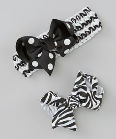 Take a look at this Black & White Headband & Bow Clips by Born Posh on #zulily today!