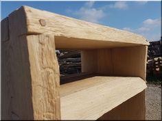 Natúr tölgy polcos asztal - Antik bútor, egyedi natúr fa és loft designbútor, kerti fa termékek, akácfa oszlop, akác rönk, deszka, palló