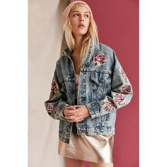 UO Design X Urban Renewal Vintage Painted Roses Denim Jacket ($195) ❤ liked on Polyvore featuring outerwear, jackets, cotton jean jacket, embroidered denim jackets, denim jacket, cotton jacket and jean jacket
