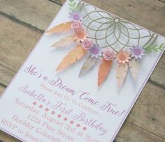 bohemian invitation, bohemian invite, bohemian party, dream catcher, first birthday party, boho invi