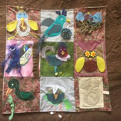 Sensory Blanket- Fidget Quilt- Birds by EclecticEchos on Etsy. Great for loved ones with dementia, Alzheimer's, autism keeps hands busy.